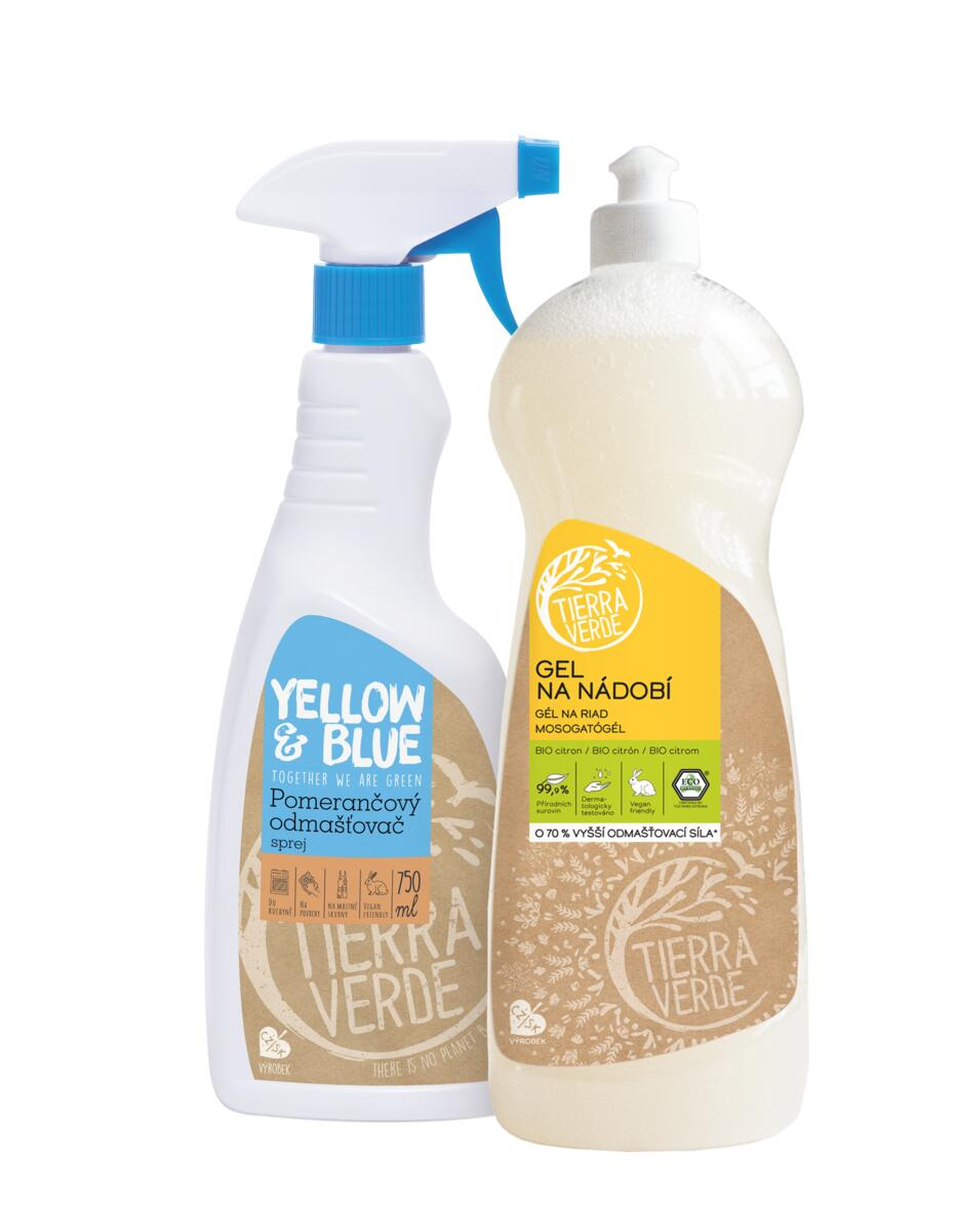 Tierra Verde – Multipack Gel na nádobí BIO citron 1 l + Pomerančový odmašťovač sprej 750 ml, 1 ks