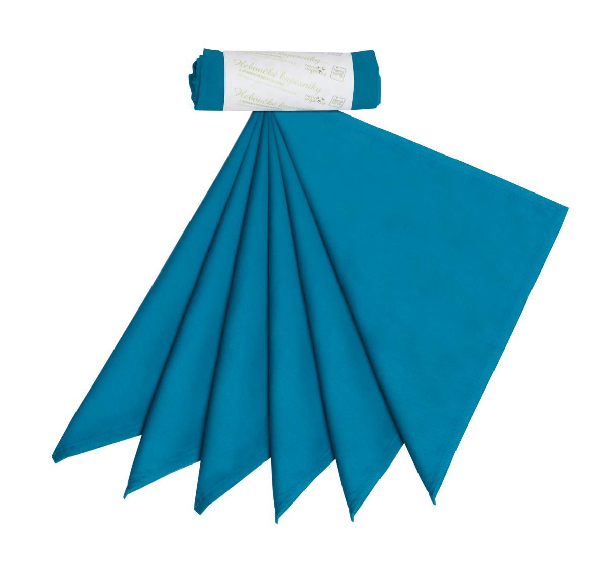 Tierra Verde Kapesníky pánské – tealová modrá (36×36 cm) 6 ks